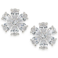 Carolee Earrings, Silver-Tone Large Crystal Flower Button Earrings - Fashion Jewelry - Jewelry & Watches - Macy's