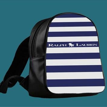 Polo Ralph Lauren Blue White Stripes for Backpack / Custom Bag / School Bag / Children