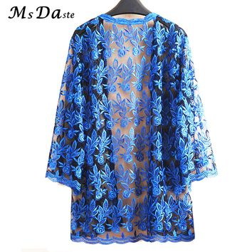 Summer Lace Cardigan Embroidery Women Casual Vintage Jackets Mujer Coat Jaqueta Feminino Casaco De La Big Plus Size 2XL~4XL W184