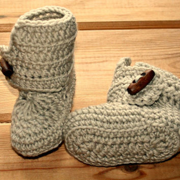 pure merino wool baby crochet boots with wooden toggles boys newborn booties sable/beige 0 -3m etsy online shower gifts crochetyknitsnbits