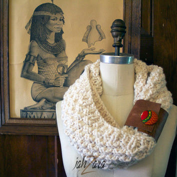 Cream Infinite cowl scarf with leather and wax print detail