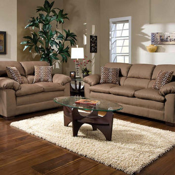 Tan Simmons Set, Accent Pillows | Velocity Mineral Sofa and Loveseat | American Freight