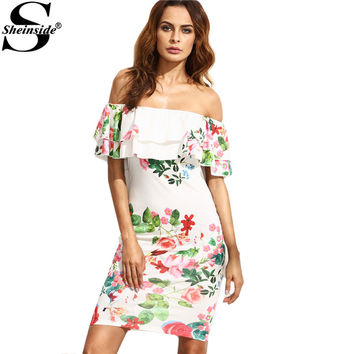 Sheinside  Summer Ladies Multicolor Floral Print Ruffle Off The Shoulder Sheath Half Sleeve Mini Dress