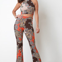 Paisley Print High Waisted Bell Bottom Pants