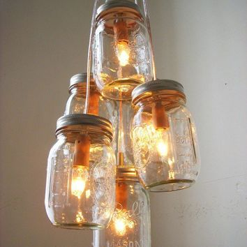 Day Glow Mason Jar Chandelier Hanging Pendant by BootsNGus