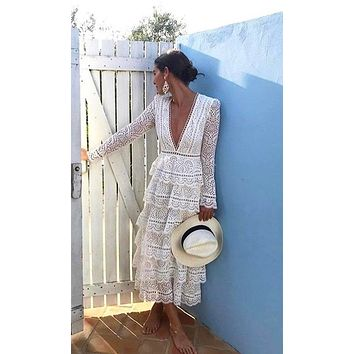 Ready For Change Lace Eyelet Long Sleeve Plunge V Neck Ruffle Tiered Casual Maxi Dress - 2 Colors Available