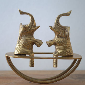 Vintage Brass Elephant Home Decor - Elephants on Seesaw