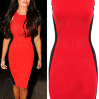 Red And Black Sleeveless Bodycon Midi Dress