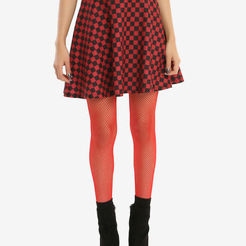 Red & Black Checkered Skirt