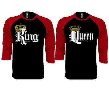 Royal King and Queen Couple Black / Red Baseball T-shirt