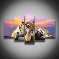 2017 Printed Tiger Animal Painting Canvas 5 Panels Landscape Wall Art Home Decoration CanvasArt Print