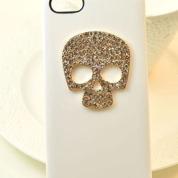 Bling Crystal Skull Metal Case Cover iPhone 4 4G 4S WHT