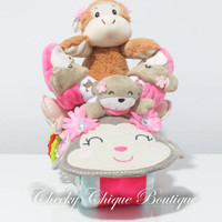 NEW Diaper Cake, Motorcycle Bike Diaper Cake, Baby Shower Gift, Centerpiece, Baby Cake, Baby Girl Gift, Monkey, Gorilla, Jungle, Slippers