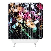 Rosie Brown Blooming Black Shower Curtain