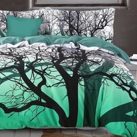 Brocade Tree Branches Cluster Printed Green Luxury 4-Piece Cotton Bedding Sets