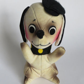 Vintage Velveteen French Chihuahua  Stuffed Plush Dog