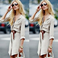 Apricot Long-Sleeved Dress Shirt