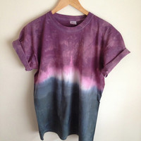Dip Dye Tie Dye T-Shirt Unisex, Purple and Black/Navy