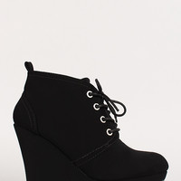 Nubuck Lace Up Round Toe Platform Wedge