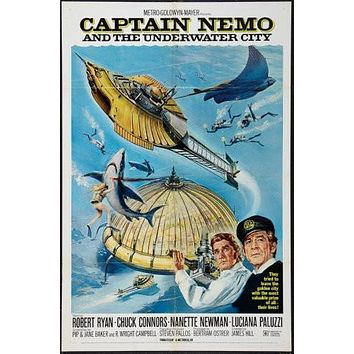 Captain Nemo Movie poster Metal Sign Wall Art 8in x 12in