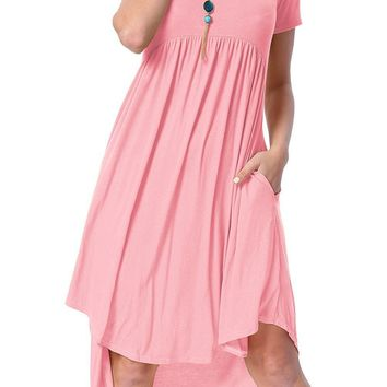 Chicloth Pink Short Sleeve High Low Pleated Casual Swing Dress
