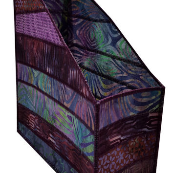 Home Storage Magazine Organizer in Purple Batik