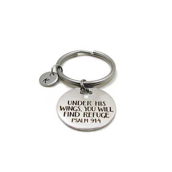 Under His Wings You Will Find Refuge, Psalm 91:4 Key Chain, Custom Gift, Bible Verse Keychain, Inspirational Keychain, Religious Keychain