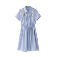 Fashion wind blue stripe doll dress