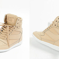 Womens Trendy High Top Wedge Sneakers Trainers Lady Casual Sky Hi Top Shoes