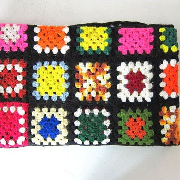 vintage afghan granny squares blanket throw / pink, yellow and green colors