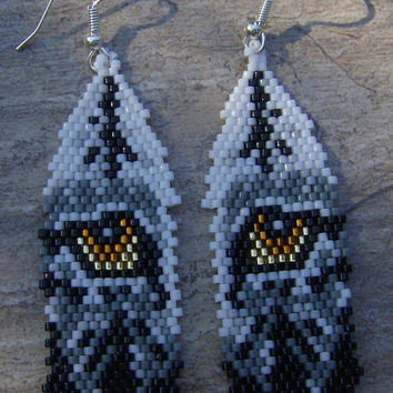 Wolf Eyes In Feather Earrings Hand Made Seed Beaded