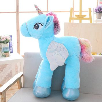 Drop shippin 60/90cm Unicorn Plush Toys Jumbo Stuffed Soft Animal Horse Doll Home Decor Birthday Gift for Kids Lovers Children