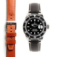Steel End Link Leather Strap for Rolex Submariner with Tang Buckle