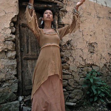 Medieval Folk Fairytale Ethnic  Brown  dress Soft Comfy Pixie Natural