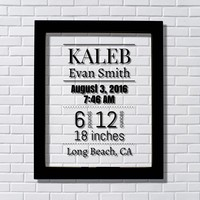 Birth Announcement – New Baby Stats Push Present Gift Personalized Name Date Time Weight and Length