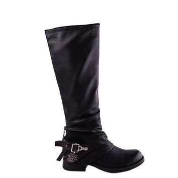 Western Leather Knee High Buckle Zipper Studded Boots