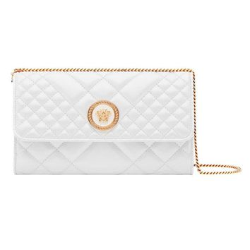 White Quilted Leather Bag by Versace
