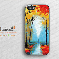 iphone 5 case , iphone 5 cover, unique  iphone case 5 rain road design B0016
