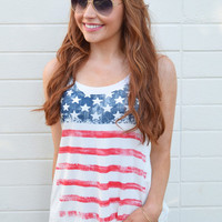 Stars and Stripes Tank Ivory