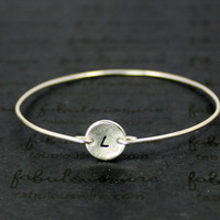 Custom Initial Bangle Bracelet, Personalized Silver Bracelet Jewelry, Customized stamped Letter Disc, Girlfriend Bridesmaid Gift