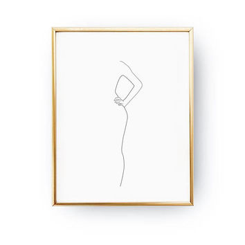 Woman Half Body Print, Woman Figure, Black And White, Single Line Art, Woman Illustration, Female Body, Line Drawing, Woman Art, Minimal Art