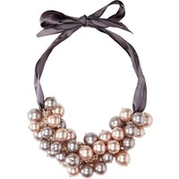 PINK FAUX PEARL CLUSTER NECKLACE