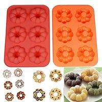 Round Flower 6 Cavity Silicone Doughnut Cake Mould Soap Mold Silicone Flexible Chocolate Mold Candy Pan Mold