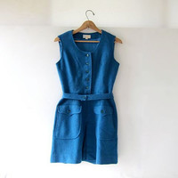 Vintage Wool Romper Dress. 60s Blue Playsuit. One Piece Jumper. Preppy Button Front Romper Dress w Pockets.