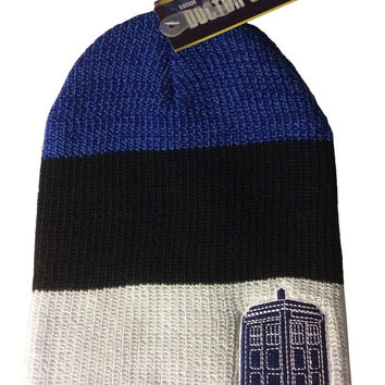 Doctor Who Tardis  Patch Slouch Beanie Knit Hat New With Tags