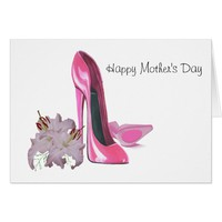Pink Stiletto Shoes and Lilies Card