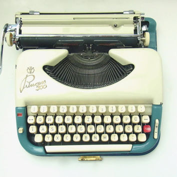 blue working typewriter 1950s mid century princess 300 german typewriters vintage robins egg sky  1950 decor midcentury wedding photo prop