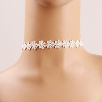 Lolita Style Crochet Flower Lace Choker Necklace