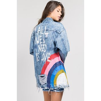 Rainbow Love Denim Jacket
