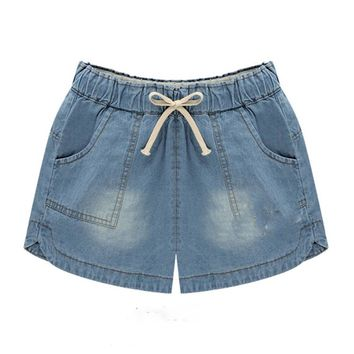 4Xl 5XL Women Casual Elastic Waist Plus Size Jeans Shorts Summer Loose Vero PocketsDenim ShortsBeach Hotpants Hot Trousers